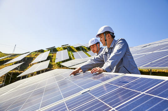Solar PV installation and workers