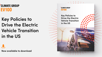 "Text: ""Key Policies to Drive the Electric Vehicle Transition in the US, Now available to download"", image on right."